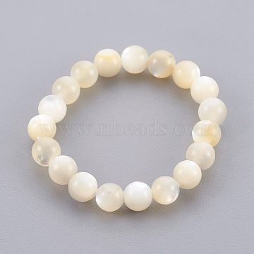 Shell Beads Stretch Finger Rings, US Size 12 3/4(22mm)(RJEW-JR00229)