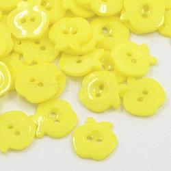 Boutons acryliques de pommes , 2-trou, teint, jaune, 13x13x2mm, Trou: 1mm(X-BUTT-E037-B-08)