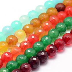 Natural Agate Bead Strands, Round, Faceted, Dyed & Heated, Mixed Color, 8mm, Hole: 1mm; about 47~48pcs/strand, 14.5inches