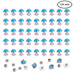 rivets turquoises, avec des résultats en acier inoxydable et en aluminium, pour bourse, des sacs, bottes, décoration d'artisanat en cuir, skyblue, 10 mm, 120 fixe / boîte(FIND-PH0016-10mm-01)
