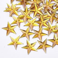 Plastic Cabochons, Star, Gold, 13x14x1.5mm(X-KY-T012-02D)