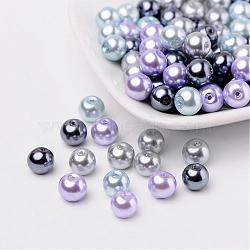 Mix nacrées perles perles de verre gris-argent, couleur mixte, 8mm, trou: 1 mm; environ 100 PCs / sachet (HY-X006-8mm-13)