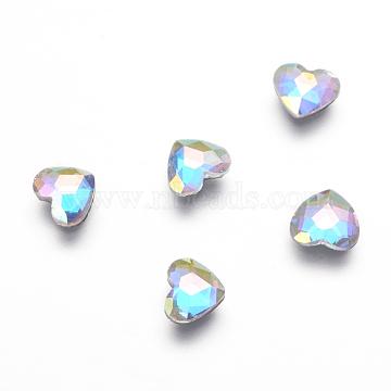 K9 Glass Hotfix Rhinestone, Flat Back & Faceted, Heart, Colorful, 5.5x6x2mm(X-RGLA-K003-03-B)