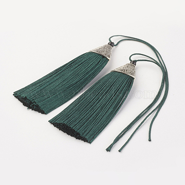 Nylon Tassels Big Pendant Decorations, with CCB Plastic, Antique Silver, Teal, 85~90x20x10.5mm(X-HJEW-G010-A23)