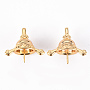 Real 18K Gold Plated Brass Peg Bails(KK-Q766-012-NF)
