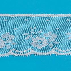 dentelle ruban nylon garniture pour la fabrication de bijoux, blanc, 2 (50 mm); à propos de 200 yards / rouleau (182.88 m / roll)(ORIB-F003-119)