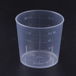 60ml Measuring Cup Plastic Tools, Clear, 42~51.5x49mm; Capacity: 60ml(2.02 fl. oz)(X-TOOL-WH0044-05)