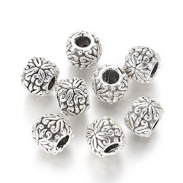 Alloy European Style Beads, Large Hole Beads, Rondelle, Antique Silver, 10~11x8.5mm, Hole: 4.5mm(MPDL-L028-08AS)
