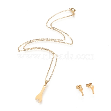 304 Stainless Steel Jewelry Sets, Cable Chains Pendant Necklaces and Stud Earrings, with Lobster Claw Clasps and Ear Nuts, Wrench, Golden, 17.44inches(44.3cm), 1.5mm; 12x4mm, Pin: 0.8mm(STAS-K196-10G)