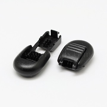 Dyed Eco-Friendly Plastic Cord End Locks Toggle Stoppers for Parachute Cord Sportswear Garment Backpack Accessories, Survival Bracelet Clasps, Black, 36x16x8mm, Hole: 5x2mm(FIND-E005-11B)