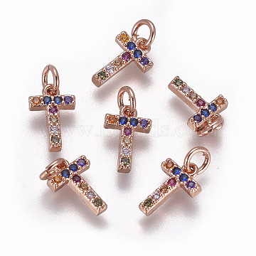 Rose Gold Colorful Alphabet Brass+Cubic Zirconia Charms