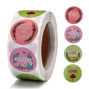 Floral Handmade with Love Stickers, 4 Different Designs Handmade Packaging Stickers, for Baking Store, Kid's Birthday, Party, Mixed Color, 26mm; 500pcs/roll(DIY-J002-F02)