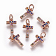 Brass Micro Pave Cubic Zirconia Charms(ZIRC-L070-38T-RG)-1