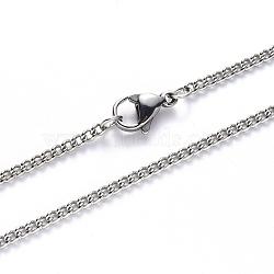 304 ожерелье из нержавеющей стали, с застежкой омар коготь, цвет нержавеющей стали, 19.68 дюйм (50 см); ссылка: 2x1.5x0.4 мм