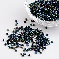 12/0 iris perles de graines de verre rond, colorées, 2mm, trou: 1 mm; environ 3304 pcs / 50 g(X-SEED-A009-2mm-605)