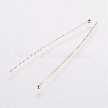Rack Plating Brass Ball Head pins, Long-Lasting Plated, Electroplated, Golden, 61x0.6mm, Head: 2mm(KK-E680-03-0.6x61mm-G)