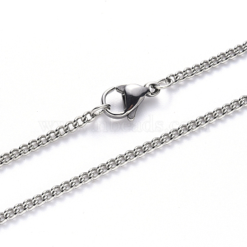 304 Stainless Steel Curb Chain Necklace Making, with Lobster Claw Clasp, Stainless Steel Color, 19.68 inches(50cm); Link: 2x1.5x0.4mm(NJEW-S420-001A-P)