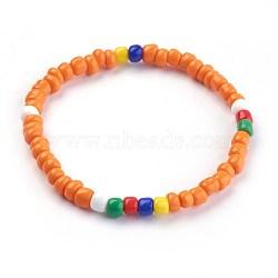 """Bracelets extensibles pour enfants, avec des perles en verre de graine, orange, 1-3/4"""" (4.6 cm)(BJEW-JB03938-05)"""