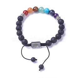 chakra bijoux, bracelets de perles tressées en pierre naturelle et synthétique, avec de la lave naturelle, résultats d'alliage et cordon de nylon, rectangle avec l'arbre, 52~76 mm(BJEW-I273-H04)