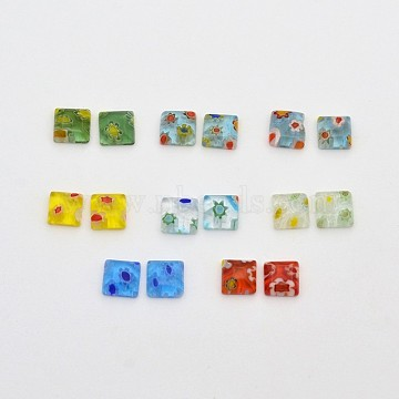 6mm Mixed Color Square Lampwork Cabochons