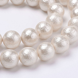 Wrinkle Textured Shell Pearl Beads Strands, Round, White, 6mm, Hole: 1mm; about 34pcs/strand, 7.7inches(19.75cm)(BSHE-F013-02-6mm)