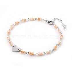 """Perles de verre de cheville de charme, avec les accessoires en métal, Rondelle et coeur, bisque, 9-1/2"""" (24 cm), 4~4.5mm(AJEW-AN00235-03)"""