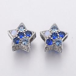 Perles européennes en laiton avec zircone cubique de micro pave, Perles avec un grand trou   , étoiles, couleur mixte, platine, 12x12x9mm, Trou: 4.5mm(OPDL-P001-10)