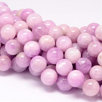 Natural Kunzite Beads Strands, Spodumene Beads,  Round, 11~12mm, Hole: 1mm; about 34pcs/strand, 15.7inches(G-P132-03-12mm)