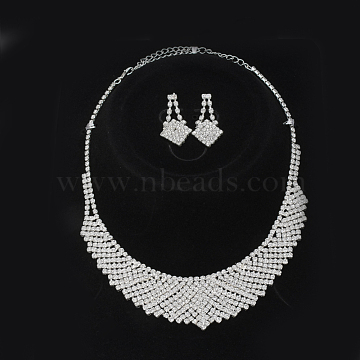 Fashionable Wedding Rhinestone Necklace and Stud Earring Jewelry Sets, Bridal Tiaras, with Iron and Brass Base, Crystal, 13.6inches(345mm)x36mm; 38x19mm, pin: 0.8mm(X-SJEW-S042-06)