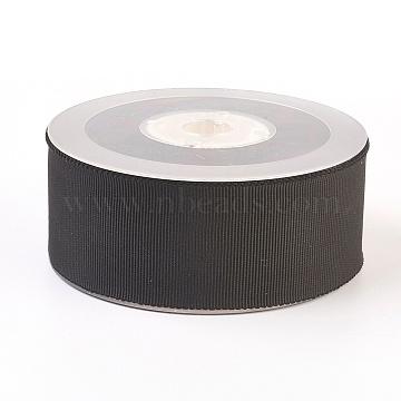 Polyester Grosgrain Ribbon, Black, 3/4 inch(19mm); 50yards/roll(45.72m/roll)(OCOR-P011-030-19mm)