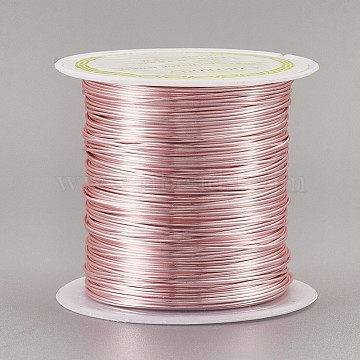 Copper Craft Wire Copper Beading Wire, Long-Lasting Plated, Pink, 22 Gauge, 0.6mm, about 59.05 Feet(18m)/roll(CWIR-F001-RG-0.6mm)