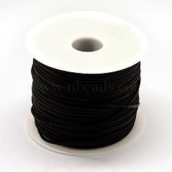 Nylon Thread, Rattail Satin Cord, Black, 1.5mm; about 100yards/roll(300 feet/roll)(NWIR-R025-1.5mm-900)