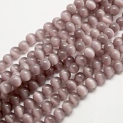 perles oeil de chat, arrondir, rosybrown, 6 mm, trou: 1 mm; environ 66 perle / brin, 14.5 / brin(X-CER21)