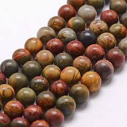 """Pierre naturelle picasso / brins de perles de jaspe picasso, rond, 8mm, trou: 1mm; environ 49 pcs/chapelet, 15""""(G-G735-14-8mm)"""