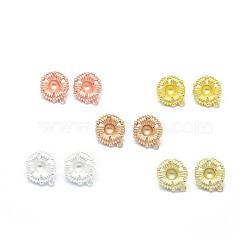 Accessoires de clou d'oreille en alliage, suports à cabochon, avec boucle, goupilles en laiton et écrous d'oreille / dos de boucle d'oreille, Plaqué longue durée, fleur, couleur mixte, 18x16mm, trou: 1.5 mm; plateau: 5 mm; broche: 0.7 mm(PALLOY-F255-22)