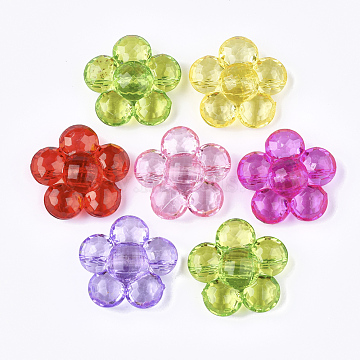 Transparent Acrylic Shank Buttons, Flower, Mixed Color, 36x36x14mm, Hole: 3mm(X-TACR-S133-131)