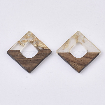 Transparent Resin & Walnut Wood Pendants, with Gold Foil, Waxed, Rhombus, Gold, 27.5x27.5x3~4mm, Hole: 2mm(X-RESI-S367-15-A01)