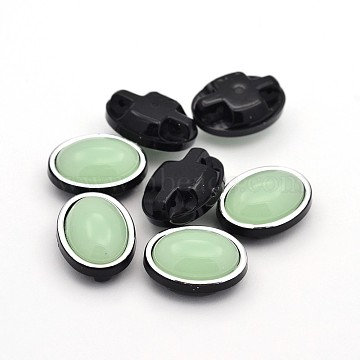 Sew on Taiwan Acrylic, Multi-strand Links, Garment Accessories, Oval, Light Green, 17x13x8mm, Hole: 1mm(X-SA54-10x14-S18-H30)
