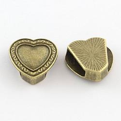 Tibetan Style Heart Alloy Slide Charms, Cadmium Free & Nickel Free & Lead Free, Antique Bronze, 16x15.5x5.5mm, Hole: 11x3mm(X-TIBEB-Q064-43AB-NR)