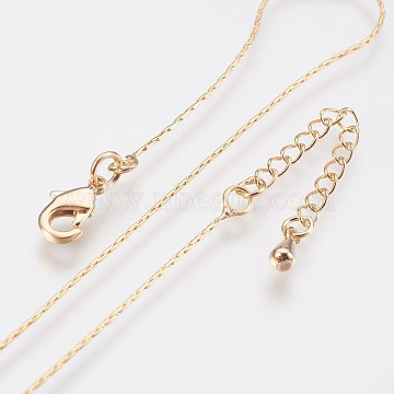 Long-Lasting Plated Brass Coreana Chain Necklaces, with Lobster Claw Clasp, Nickel Free, Real 18K Gold Plated, 18.1 inches (46cm), 0.7mm(X-NJEW-K112-08G-NF)