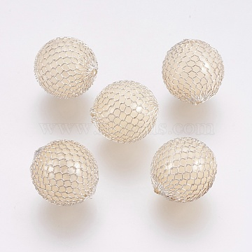 Platinum Round Brass+Other Material Beads