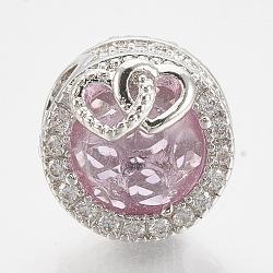 Perles européennes en laiton avec zircone cubique, Perles avec un grand trou   , plat et circulaire avec coeur, platine, pearlpink, 12x14mm, Trou: 4.5mm(ZIRC-T006-35P-07)