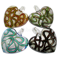 Handmade Silver Foil Glass Pendants, Heart, Mixed Color, about 39~40mm wide, 41~43mm long, 11~12mm thick; hole: 6mm(X-SLSP180)
