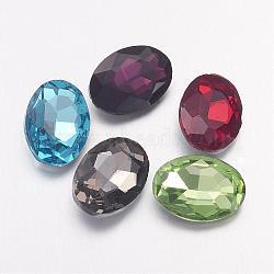 Strass en verre pointé , dos plaqué, facette, ovale, couleur mixte, 10x14x4mm(X-RGLA-Q011-10x14mm-M)