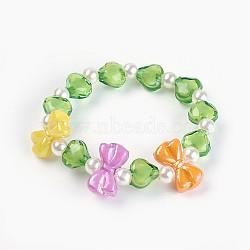 """Bracelets extensibles en perles acryliques pour enfants, bowknot & coeur & rond, verte, 1-5/8"""" (4.3 cm)(BJEW-JB03885-05)"""