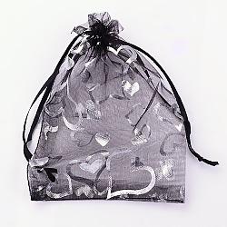 Pochette organza pour cadeaux, coeurs d'argent imprimés, avec cordon de serrage, noir, 9x7 cm(X-OP-Q038-7x9-01)