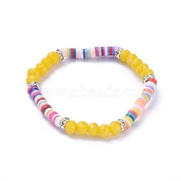 Kids Stretch Bracelets, with Polymer Clay Heishi Beads, Faceted Glass Beads and Brass Rhinestone Beads, Gold, Inner Diameter: 1-7/8 inches(4.7cm)(BJEW-JB05194-06)