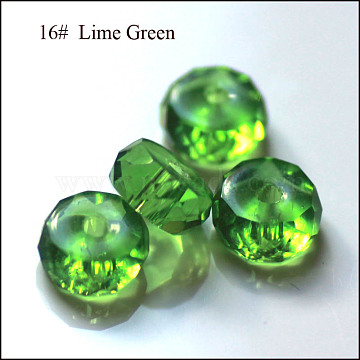 Imitation Austrian Crystal Beads, Grade AAA, Faceted, Flat Round, Lime Green, 8x3.5mm, Hole: 0.9~1mm(SWAR-F078-4x8mm-16)