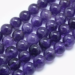 Natural Amethyst Beads Strands, Round, 8mm, Hole: 1mm; about 50pcs/strand, 15.5inches(39.3cm)