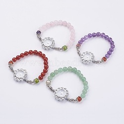 Alloy Rhinestone Bracelet Watches, with Natural Mixed Stone Beads and Iron Bead Spacers, 2-1/8 inches(52mm)(BJEW-JB02867)